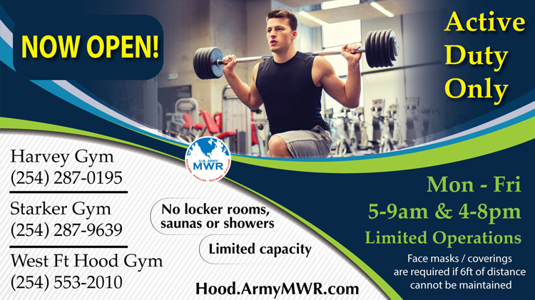 Harvey, Starker and West Ft. Hood Fitness Centers Open